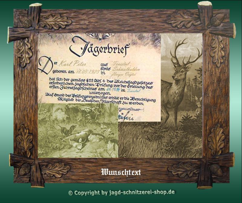 Jägerbrief-Bilderrahmen handgeschnitzt -