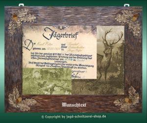 Bilderrahmen Jägerbrief der Jagd-Schnitzerei Peter für Ihren Jägerbrief